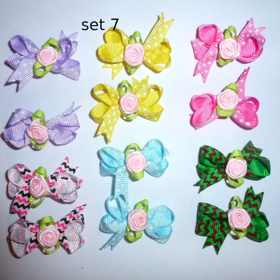 Puppy Bows ~ 12 twisted boutique rose dog bow for girls - pairs dog grooming pet hair bows - set 7
