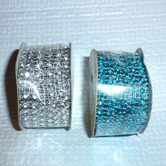 Puppy Bows craft items ~ Silver or aqua blue plastic rhinestone trim 3 yd can cut like ribbon