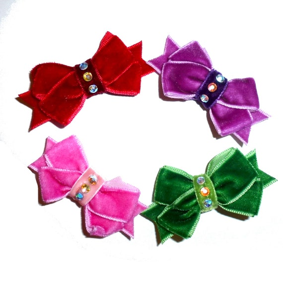 Puppy Bows ~Red velvet rhinestone Christmas Valentines pet  hair bowknot bow bands or barrette  ~USA seller