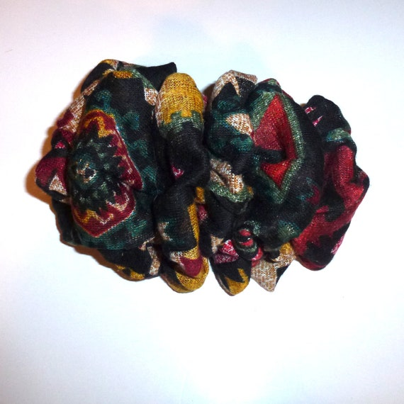 Becky Bows ~  Fluffy over sized hair bows for women large ladies vintage scarf bow black tribal