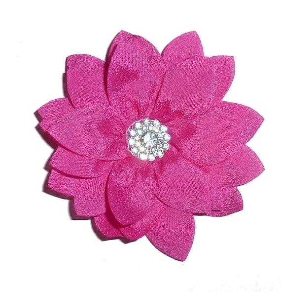 "Puppy Bows ~ Dog collar slide bow large dog hair bows 4"" pink daisy flower rhinestone center ~USA seller (dc11)"