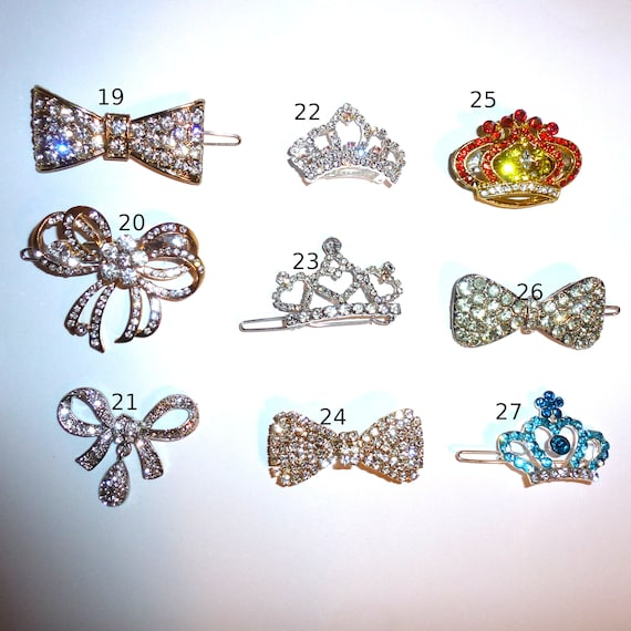 Puppy Bows ~ Rhinestone TIARA multi styles dog hair barrette clip CRYSTAL styles 19-27 ~USA seller