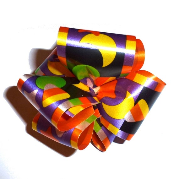 Dog bows  medium sized hair bow or collar bow HALLOWEEN candy corn dog collar slide bow party puff flower