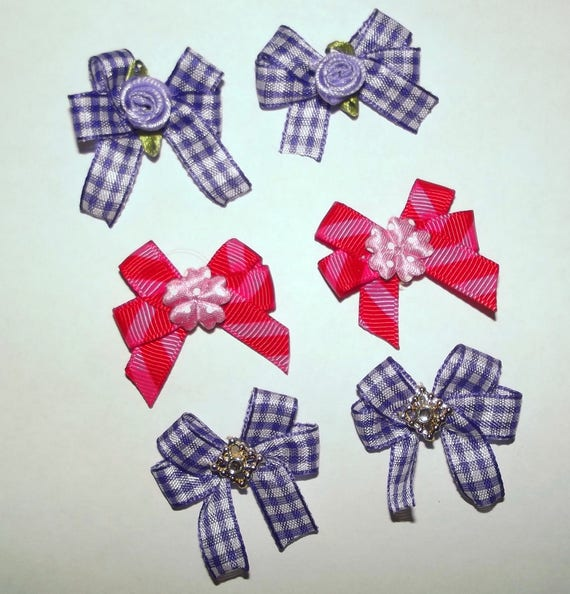 Puppy Bows ~6 purple pink gingham EVERYDAY BOWS Yorkie Maltese Shih Tzu ~Usa seller (fb81)