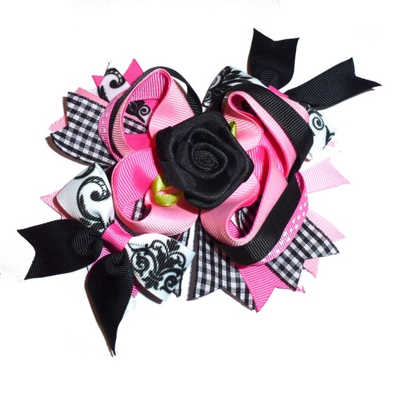 Puppy Bows ~  Pink black roses swirls over the top amazing! dog collar slide flower barrette hair accessory  ~USA seller (DC8)