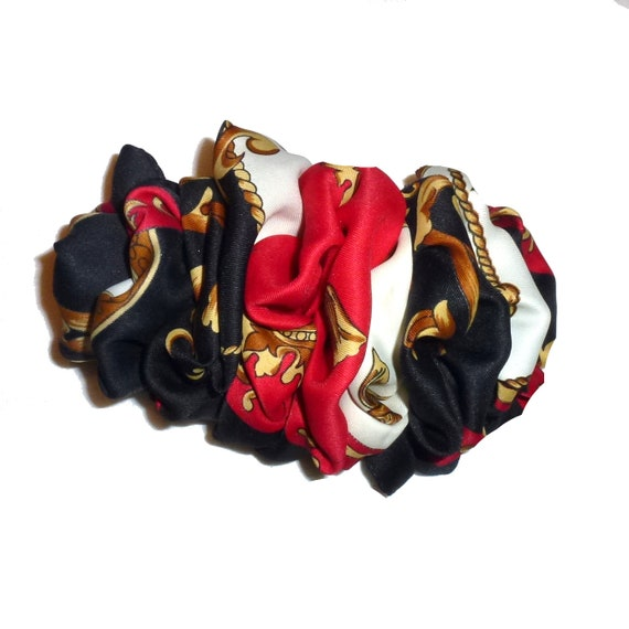Becky Bows ~  Barrette  chiffon large vintage style scarf Hand crafted over sized  BIG hair red black