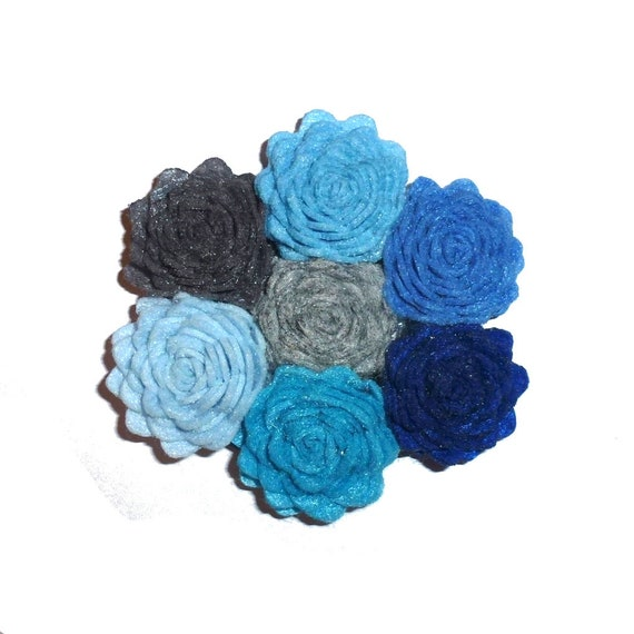 Puppy Bows ~ Winter cabbage roses dog collar slide blue, navy gray dog flower for collar (fb328)