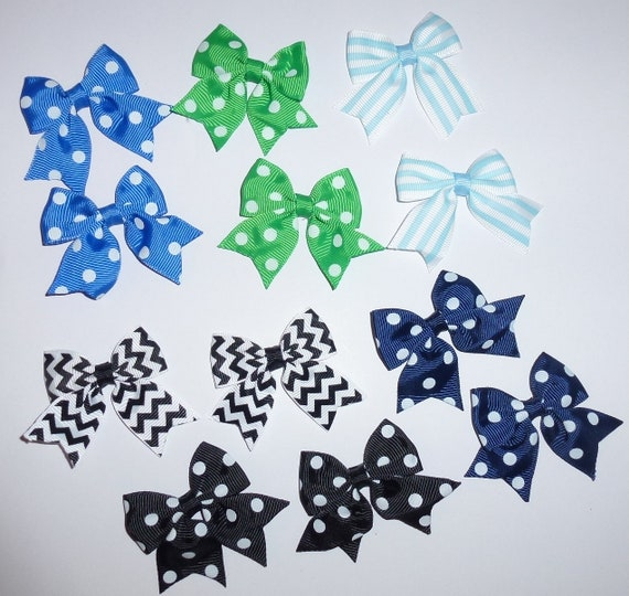 Puppy Bows ~ 12 dog bow for boys blues black - pairs dog grooming pet hair bows - (218t)