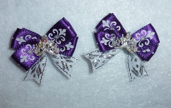 Puppy Bows ~ 2 purple silver tiny dog hair bow with tiny rhinestone tiara ~Usa seller (fb85)