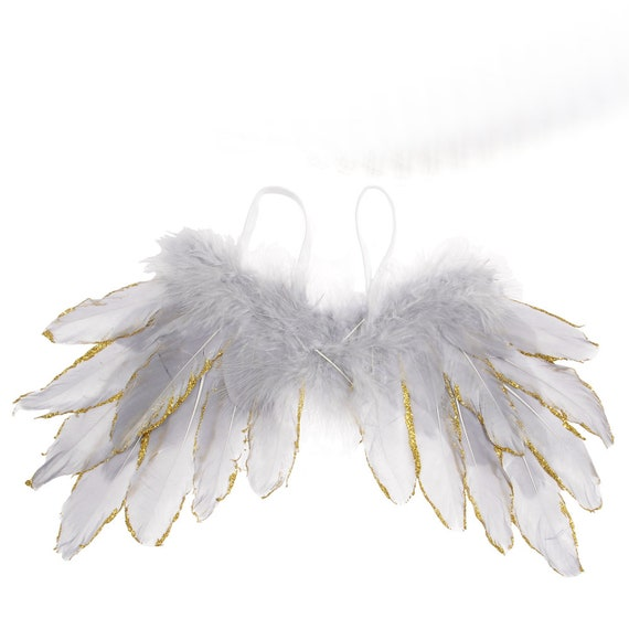 Puppy Bows ~ Christmas Silver, Gold, or gold pink tipped angel feather wings costume fit 5lb - 25lb FREE SHIPPING