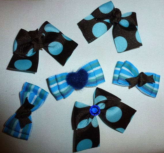 Puppy Bows ~6 boys blue chocolate EVERYDAY BOWS Yorkie Maltese Shih Tzu ~Usa seller (fb100)