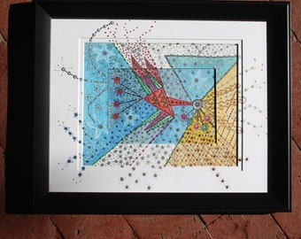 Creatures of the Sky with Black Frame, Coordinating Mat