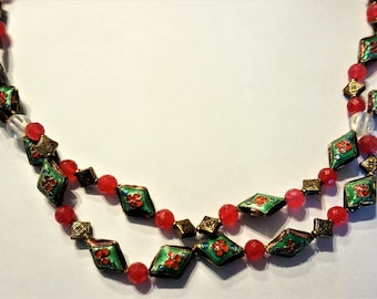 Vintage Christmas Necklace/ Christmas Jewelry / Cloisonne Necklace / Cloisonne Jewelry / Jewelry Set
