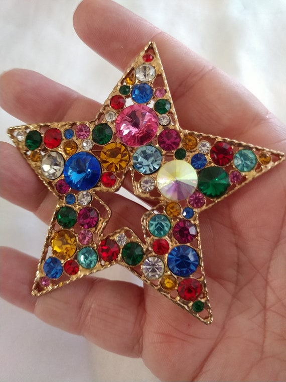 Large Star Brooch / Pin / Star Jewelry / 1940's Br