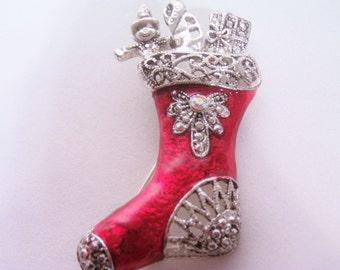 Vintage Stocking Brooch / Pin / Christmas Brooch / Pin / Red Christmas Brooch / Pin / Christmas Jewelry / vintage Stockings / Stockings