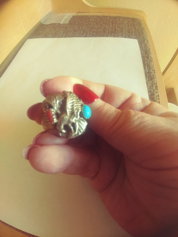 Sterling Eagle Ring /Large Turquoise Sterling Ring