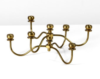 Vintage brass candle holder for tiny taper candles, 60s