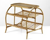 Vintage rattan plant stand, 60s side table Mid Century modern