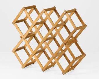 Vintage wine rack wood foldout 70s