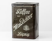 Large antique coffee tin canister, Germany