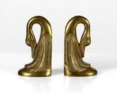 Vintage brass swan bookends