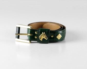 6dfe32029dbc7 Vintage Kindergürtel, Vintage Gürtel, grüner Ledergürtel, goldener  Pferdekopf, gold grüner Ledergürtel