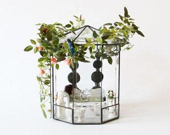 Antique glass dollhouse, garden pavilion, dolls glass house, bird aviary, miniatures dollhouse