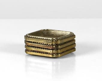 Stackable ashtray set, brass ashtray set, German 50s ashtrays, brass bar decor, 50s ashtrays