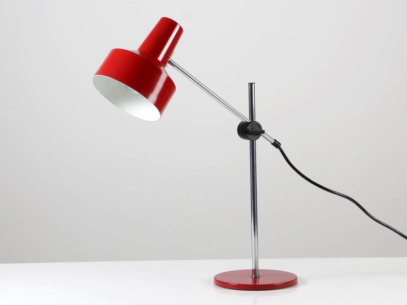 Rote Metall Space LampeSchreibtischlampe70er Silber Age Rot Tischleuchte nk8wP0OX