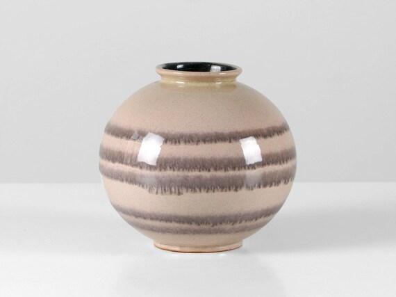 Vintage Studio Vase Kugelvase Keramik MAUVE grau Streifen | Etsy