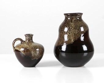 Vintage vases set, studio ceramic vases, brown ceramic vases, Mid-Century vases West Germany
