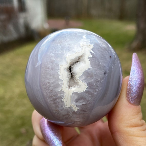 Beautiful Agate Crystal Sphere With Stand