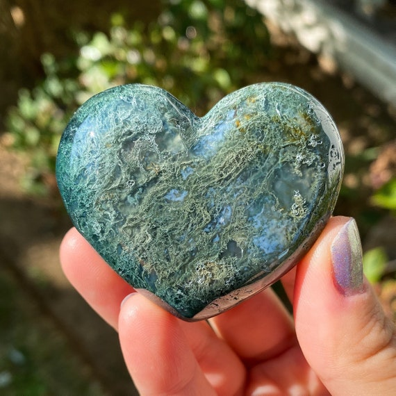 You Choose Beautiful Moss Agate Hearts
