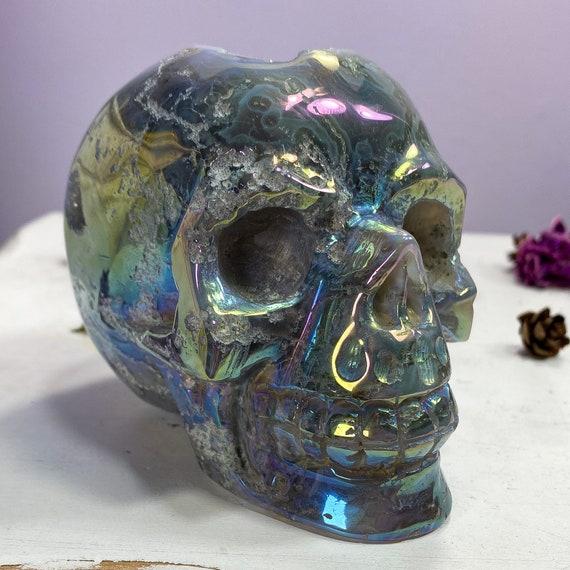 Large Aura Coated Druzy Moss Agate Skull