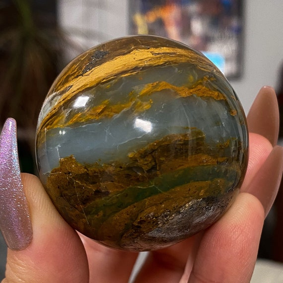 Blue Andean Opal Sphere from Peru