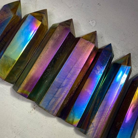 You Choose Rainbow Aura Tiger Eye Tower