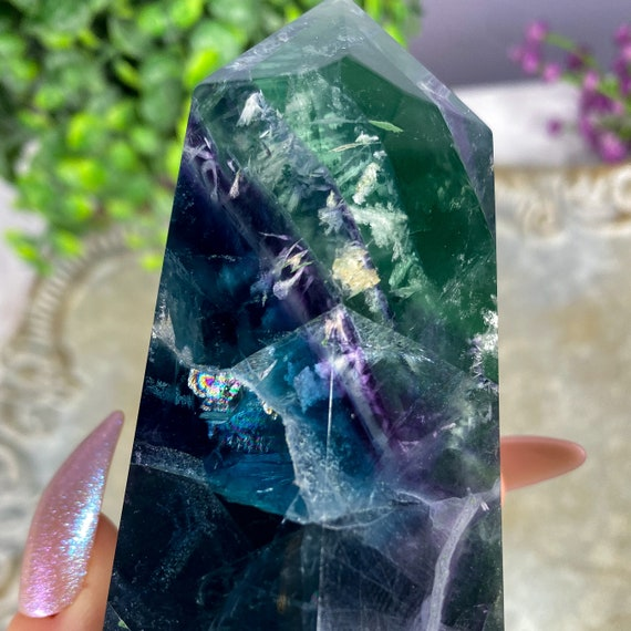 Large Rainbow Fluorite Tower Point, Spiritual Decor, Third Eye Crystal