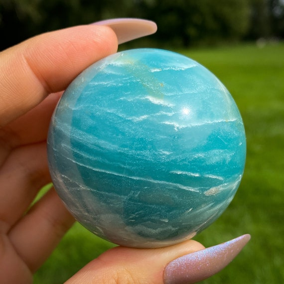 Beautiful Teal Quartz Sphere, New Find
