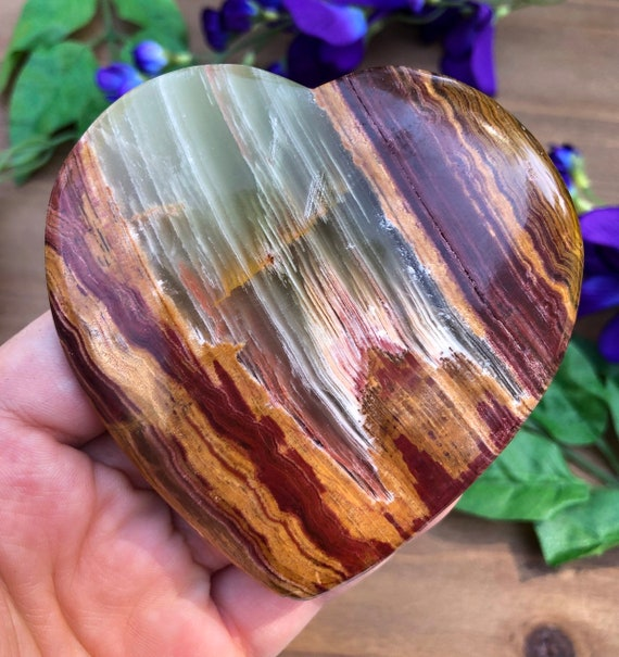 Striped Calcite Heart