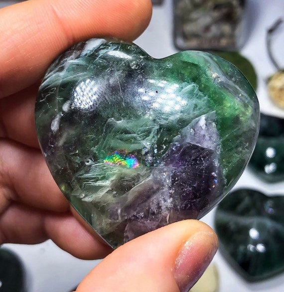 Rainbow Fluorite Crystal Hearts