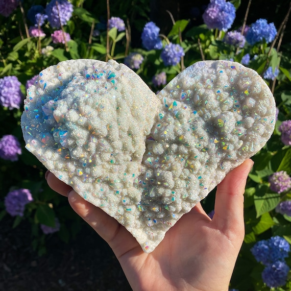 XL Angel Aura Quartz Cluster Heart