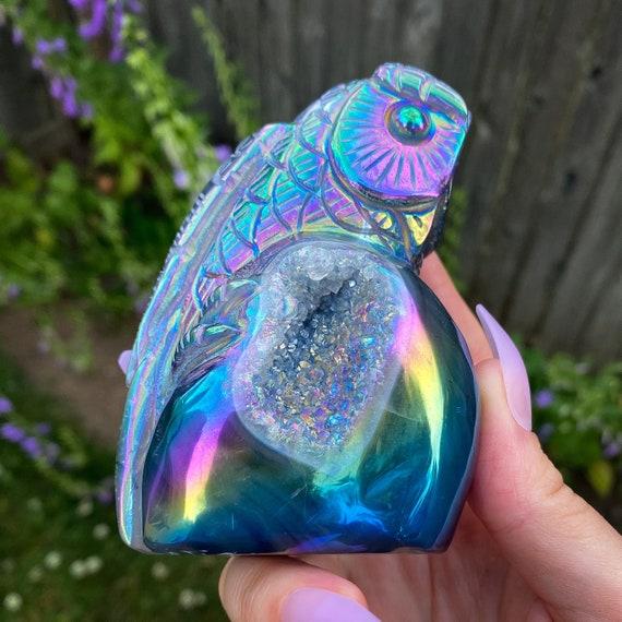 Aura Druzy Agate Owl