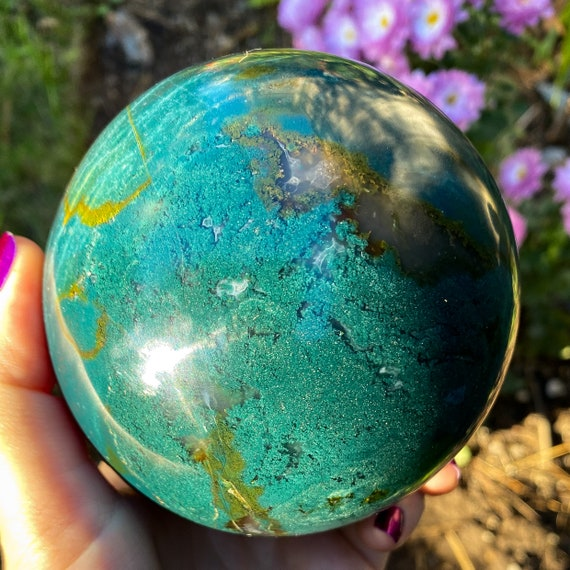 Deep Teal Ocean Jasper Moss Chalcedony Sphere