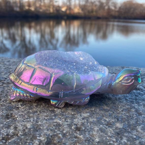 Large Aura Geode Turtle Statue