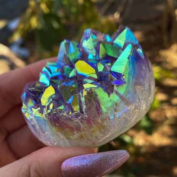 Rainbow Aura Amethyst Palm Stone