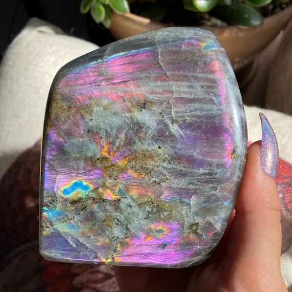 Large Beautiful Purple Rainbow Labradorite Freeform