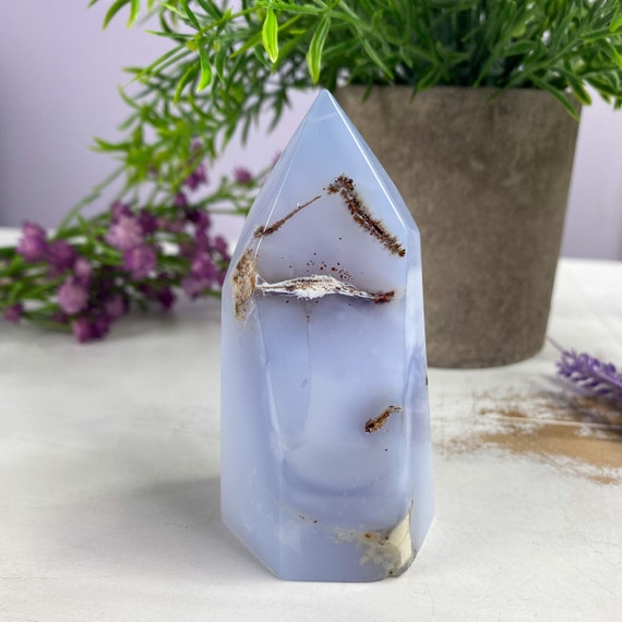 Beautiful Blue Chalcedony Tower Point, Spiritual Decor, Protection Stone