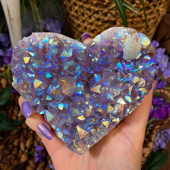 Aura Amethyst Cluster Heart