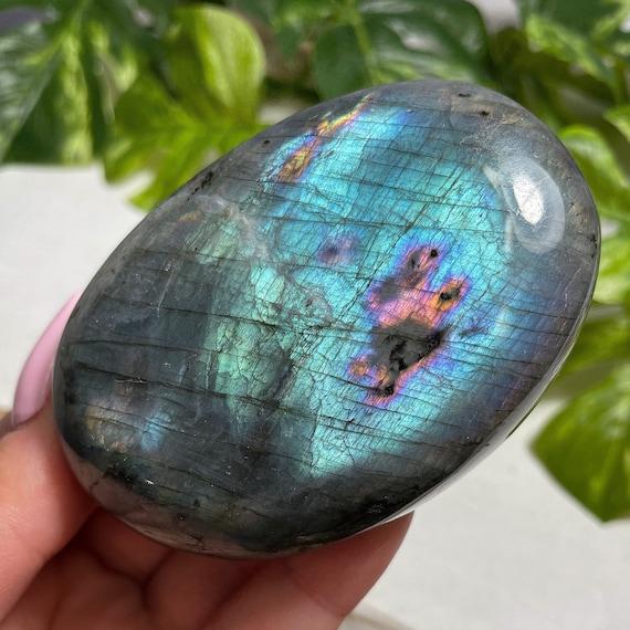 Teal Blue Labradorite Palm Stone