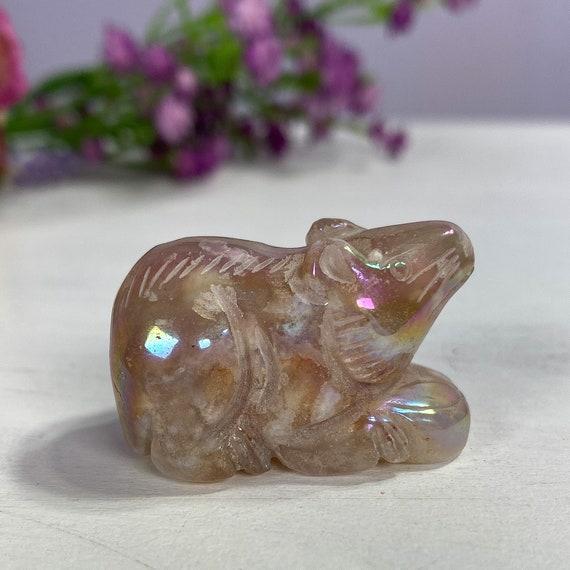 Aura Flower Agate Crystal Mouse
